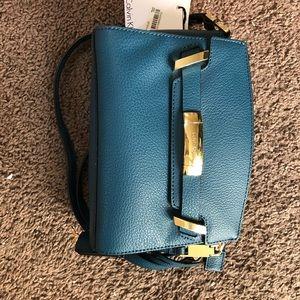 Calvin Klein teal crossbody purse